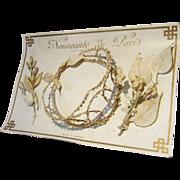 Antique Doll Size Wax Orange Blossom Crown + Bouquets on Original Presentation Card