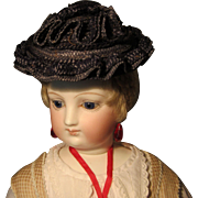 Antique French Blue Straw Hat for French Fashion or Other Small Doll