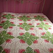 SALE Antique Quilt C 1870 Cockscomb red green applique