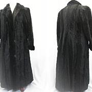 Vintage coat faux fur w seal fur trim 1940s