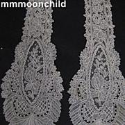 Antique lace tie handmade Brussels Point de Gaze Victorian era