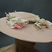 REDUCED Vintage hat 1940s sun hat wide brim w roses
