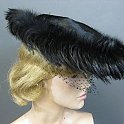 Vintage hat 1950s beaver w feathers n net FAB