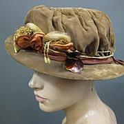 Vintage hat 1920s w original trim  silk velvet