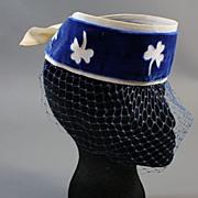 Vintage hat 1960s veil w lucky shamrock