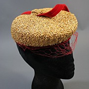 Vintage hat 1930s tilt top straw w red net