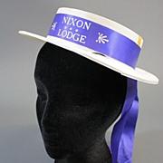 Vintage hat presidential campaign Nixon Lodge ribbon1960