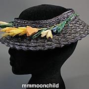 Vintage hat 1940s summer straw w open top original trim