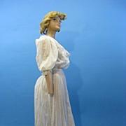 B2612 Antique dress Victorian era tea gown dotted swiss