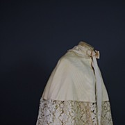 Antique cape Victorian Civil War era Silk w lace