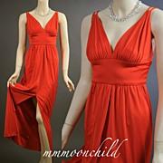 Vintage dress 1970s evening gown tangerine orange