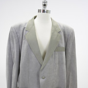 Vintage 70s Suede leather men's suit jacket gray suede