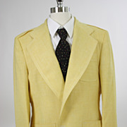Vintage 60s 70s mens Jacket Yellow Wide Lapel