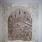 ART DECO 1933 Swimming Diploma of Merit