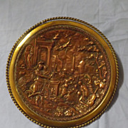 Amazing Victorian Copper & Brass Repousse Plaque -Roman Scene
