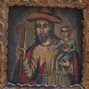 SALE Saint Joseph With The Infant Jesus - Peruvian Folk Art Retablo