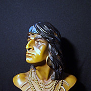 Large Vintage Plaster Bust of An American Indian Warrior