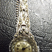 1940's Univex Swiss Marquesite & Silver Ladies Watch