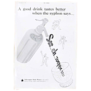 Art Deco 'SCHWEPPES SODA Water ' Advertisement  - The Sphere 1936
