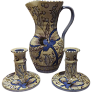 Charlotte Rhead Bursley Ware Jug Vase & Matching Candle Sticks