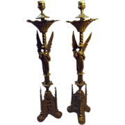 SALE An Exceptional Pair of Victorian  'Gothic' Altar Candle Sticks