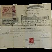 Three Old Samuel Brothers (Merchant Tailors) Receipts, London