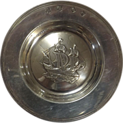 English 16th Century Galleon on Sterling Silver Dish