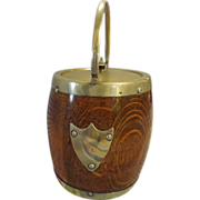 Edwardian Oak  Biscuit Barrel With Pottery Inner