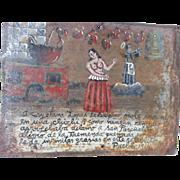 SALE Mexican Folk Art RETABLO - Ex Voto - Circa 1914