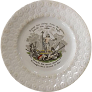 Victorian Child's Decorated Plate - Religious - Behold Him Rising