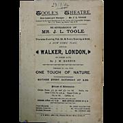 "Theatre Program ""TOOLE'S Theatre"" London 1892"