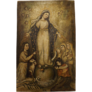 Lady of The Immaculata With Angels - Oil on Canvas Peru Circa 1920