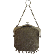 Sterling Silver Ladies Mesh Evening Bag - Edwardian Period 1903