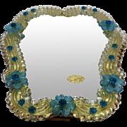 A Gorgeous Very Feminie Murano Venetian Glass Standing Mirror