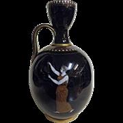 RARE English Greek Revival Mirror Black Glazed Pottery  Vase - Circa 1860