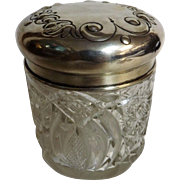 Ladies Cut Crystal Dressing Table Vanity Jar - Hallmarked Silver Top James Dixon 1907