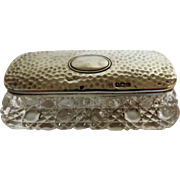 Edwardian Period Silver Topped Cut Crystal Ladies Dressing Table container