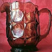 Vintage Large Amber Glass Water Jug Circa 1920's-40's