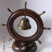 Vintage Dominion Monarch Ships Wheel & Bell Shipping Souvenir
