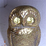 Vintage Brass Owl Vesta Holder Circa 1900