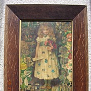 SALE Rare Large & Beautiful Victorian Print Montage in Oak Frame