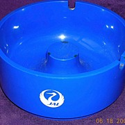 Vintage Japan Airlines Thick Blue Plastic Advertising Ashtray