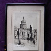 "Vintage Original Charcoal Drawing or Engraving of  ""St. Paul's From The River"" By O."