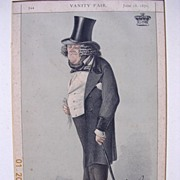 """1877 Framed Lithograph From Vanity Fair Magazine """"STATESMAN No 52"""""""