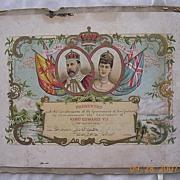KING EDWARD V11 Coronation Certificate 1902
