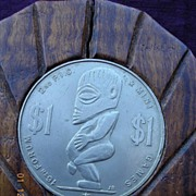Vintage COOK ISLANDS 16th Forum Mounted Souvenir Dollar