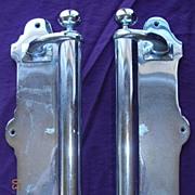 Retro 1940's Pair Of Large Chromed Door Pulls