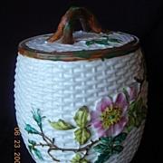 "1875 Victorian ""Crown Pottery' Basketweave Biscuit Barrel"