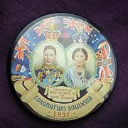1937 Coronation George V1 &Elizabeth Pocket Mirror Souvenir
