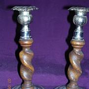 Edwardian Pair of Oak Twisted Column Candle Sticks